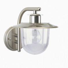 Edelstahl-Außenwandlampe mit klarem Kunststoff-Diffusor