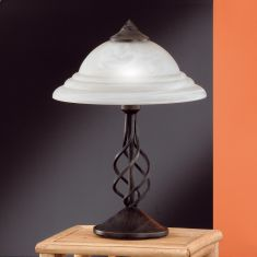 Tischleuchte rustikal in rostfarbig antik mit Alabasterglas weiß