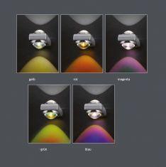 Fünf verschiedene Farbfilter zur Wandleuchte SHOT