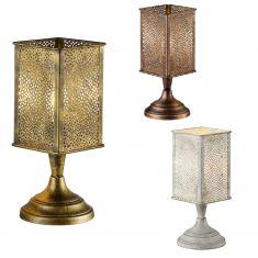 Orientalische Tischleuchte aus Metall - Ø 18cm, wählbar in Altmessing, Grau antik oder Kupfer antik