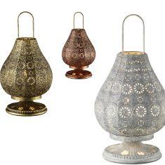 Tischleuchte im orientalischen Stil aus Metall - Ø 19cm, wählbar in Altmessing, Grau antik oder Kupfer antik