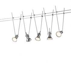 LED Seilsystem mit 5 Spots titanfarbig