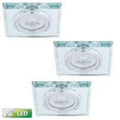 Einbaustrahler mit Glasrahmen - 3er-Set - Eckig - Silber - Inklusive LED-Leuchtmittel 3 x GU10 5 Watt warmweiss