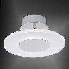 LED-Deckenleuchte aus satiniertem Acrylglas mit Chromapplikation, rund, inklusive 18 LED, 4000K, Ø 25cm 1x 18 Watt, 25,00 cm