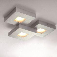 LED Deckenleuchte Cubus in Aluminium geschliffen - 3-flammig 3x 8,7 Watt, 6,00 cm, 36,00 cm, 28,00 cm, Ja