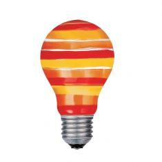 Glühbirne, Glühlampe, Leuchtmittel AGL E27 40W rot/orange/gelb Quer gestreift