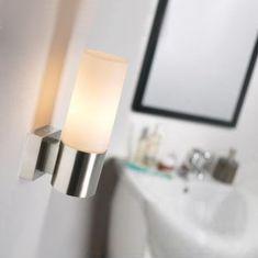 Moderne Wandleuchte mit Opalglas - in Nickel-matt oder Chrom
