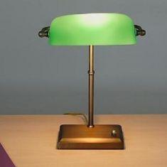 Bankerleuchte mit smaragdgrünem Glas - dimmbar