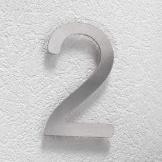 Hausnummer 2 aus Edelstahl, klein 2