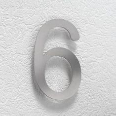 Hausnummer 6 aus Edelstahl, klein 6