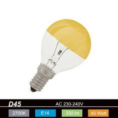 D45, E14 Tropfen-Glühlampe kopfverspiegelt gold - 25W oder 40W