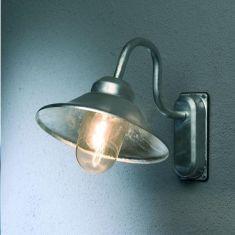 Aussenwandleuchte im Stile einer Skandinavischen Sturmlampe aus Aluminium galvanisiert