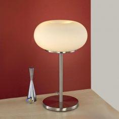 Tischleuchte mit opal-weißem Glas - Höhe 46cm - Nickel-matt