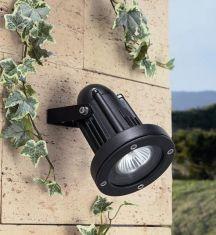 Hochwertiger Strahler in Schwarz oder Grau für Wand, Decke oder Boden - IP65 und IK 08 schlagfest - inklusive Erdspieß