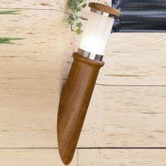 Wandleuchte aus Teak-Holz mit rostfreiem Edelstahl in Fackeloptik , IP44