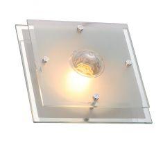 Deckenleuchte mit satinierter Glasplatte und Kristallglas