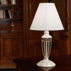Tischleuchte in antikem Design, antik-braun oder beige-gold