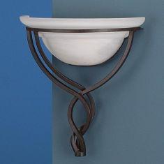 Wandleuchte rustikal in rostfarbig mit Alabasterglas in weiß