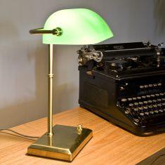 Bankerleuchte  Bankerlamp- mit Smaragd grünem Glas - dimmbar über Drehdimmer