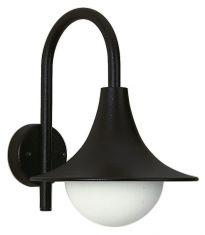 Wandleuchte aus Aluminiumguss in schwarz, Opalglas