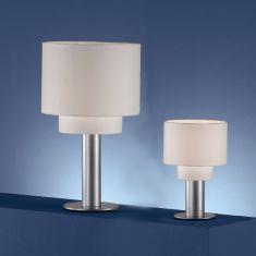 Tischleuchte  aus titan-silberfarbigem Metall mit  Chintz-Stoffschirm - in 2 Größen lieferbar