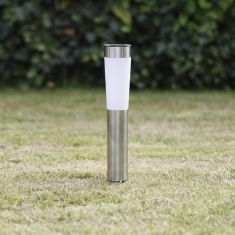 Solar-LED Sockelleuchte aus Metall  in edelstahl mit Erdspieß-keine Installation