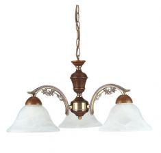 Pendelleuchte Odett 3 flammig - mit Echtholz-Elementen und weißem  Alabasterglas