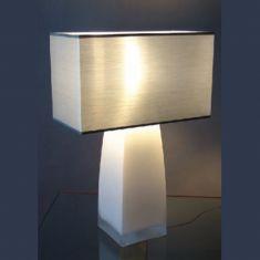Tischleuchte Milano opal und Aluminiumschirm