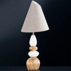 Hockerleuchte Stone mit Keramik natur / braun, Schirm grau meliert verstellbar
