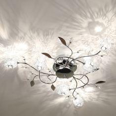 Deckenlampe in Chrom mit Tulpen aus Drahtgeflecht