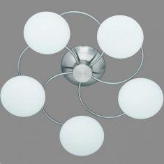Deckenleuchte in Nickel-matt, 5 flammig 5x 28 Watt, weiß/stahlfarbig, Nickel-matt