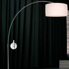 Design-Bogenleuchte mit Schirm Plissee weiß, Fuß Marmor