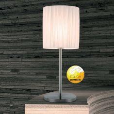 Design-Tischleuchte mit Touchdimmer, Schirm Plissee weiß