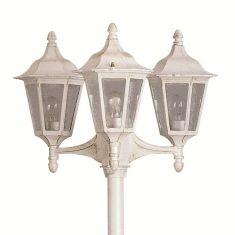 3-flammige Mastleuchte in Laternenform aus Aluminiumguss in 3 verschiedenen Farben wählbar, Höhe 230cm, IP23