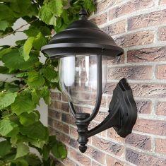 Außenwandleuchte in Schwarz, klassische Form schwarz, 28,00 cm