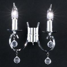 Wandleuchte, 2 flammig, chrom mit klarem Glasbehang