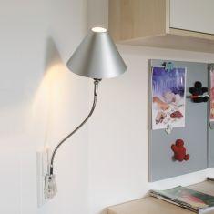 Steckerleuchte Pluglight Flex Shade, 40 cm Chrom, Steckerfarbe weiß Chrom, 40,00 cm, Stecker weiß
