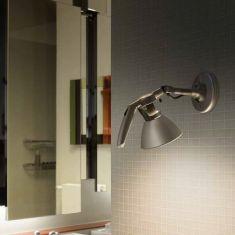 Designer Wandleuchte FORTEBRACCIO von LUCEPLAN mit Schalter - Kopf Ø 16cm - schwarz, alu oder weiß wählbar