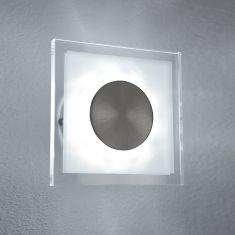 LED Außenwandleuchte teilsatiniertes Glas, eckig