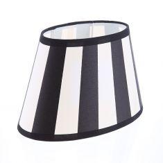 Lampenschirm aus Stoff Schwarz-Beige( sehr helles Beige) gestreift ovale Form Aufnahme E27 unten