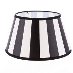 Lampenschirm aus Stoff Schwarz-Beige( sehr helles Beige) gestreift rund Ø 30cm Aufnahme E27 unten