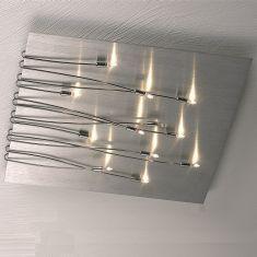 Deckenleuchte 50x50cm aus Aluminium, 12 flammig inklusive Leuchtmittel