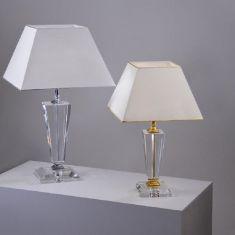 Tischleuchte mit Kristallglas, vergoldet oder verchromt, 4 Ausführungen