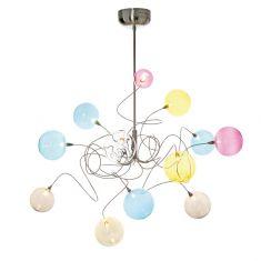 Design Pendelleuchte Bubbles aus Edelstahl, handgestaltet mit 12 mundgeblasenen Glasbällen