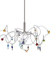 handgefertigte Design-Pendelleuchte STRAWBERRY mit Murano Glaskugeln