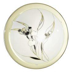 Deckenleuchte Glas mit Motiv, Rand Metall in chrom silber, Chrom, Ja