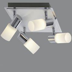 4-flg. LED-Deckenleuchte, schwenkbar, Aluminium / Chrom