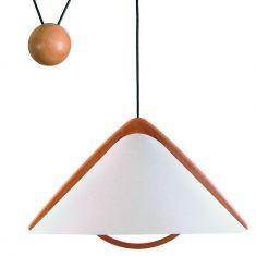 Design Zugpendelleuchte höhenverstellbar mit Lunopalschirm und Echtholz Buche