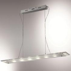 LED-Pendelleuchte mit rechteckiger Glasplatte, Chrom, höhenverstellbar, LED 6x3W,  4100K