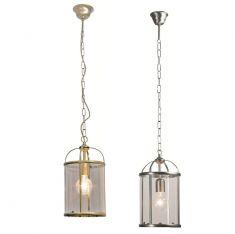 Rustikale Leuchtenserie - Pendelleuchte 1-flammig - Stahl - Glas klar - 2 Farben - Bronze oder Stahl